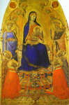 Madonna and Child Enthroned, with Angels and Saints.