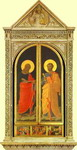 Linaiuoli Tabernacle: The Evangelist Mark and the Apostle Peter. Wings closed.
