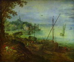 River Landscape with Wood-Cutters.