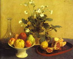 Still-life. Flowers, Bowl of Fruit and Pitcher. (Nature morte. Fleurs, compotier et carafe).
