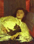 Girl with a Cat. (Portrait of Sophia Kramskaya).