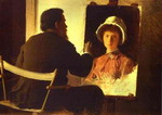 Ivan Kramskoy Working on Portrait of his Daughter.