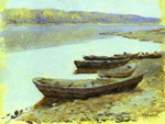 Landscape on the Volga. Boats by the Riverbank.