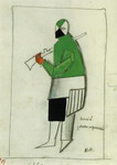 Reciter. Sketch of a costume for the opera