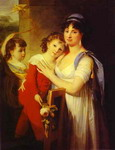 Portrait of Anna Muravyova-Apostol (1770s-1810) with Her Son Mathew (1793-1886) and Her Daughter Cat
