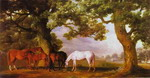 Mares and Foals in a Wooded Landscape.