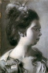 Study of a Young Girl with Feathers in Her Hair.