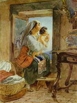 Italian Woman with a Child by a Window.