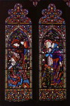 Annunciation. the left-hand and centre panels of a three-light window at St. Columba's Church.