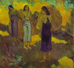 Three Tahitian Women Against a Yellow Background.