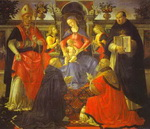 Madonna and Child Enthroned with Two Angels, St. Dionysius the Aereopagite and St. Dominic, Pope Cle